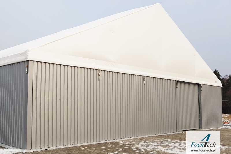 hala namiotowa ściany blaszane dach plandekowy