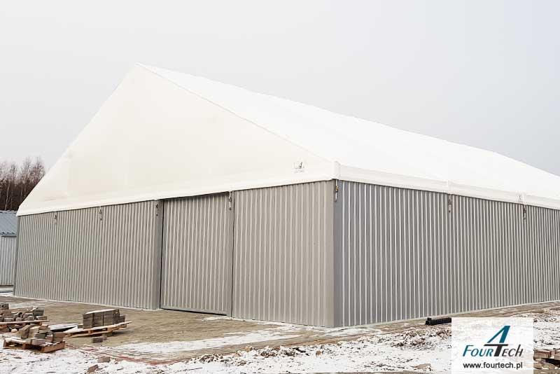 hala namiotowa z białą plandeką