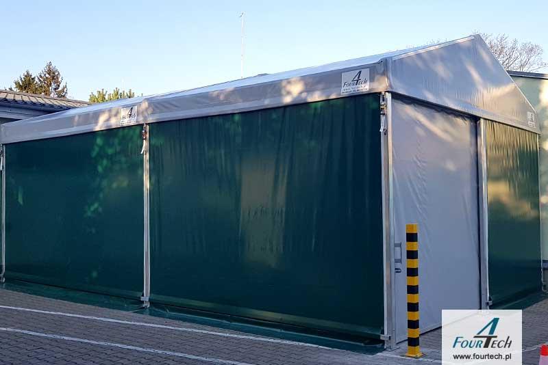hala namiotowa biało-zielona